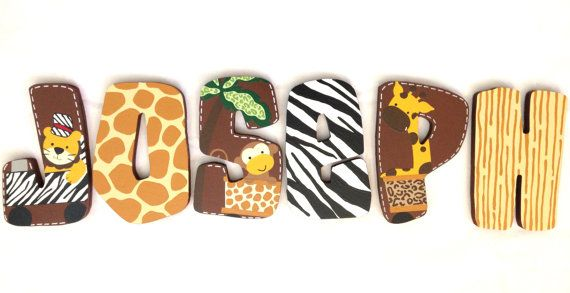 Personalized Wooden Wall Letters for Nursery and by AllysCustomArt, $13.00 Personalized Wooden Wall Letters for Nursery and Kids Room - Custom Name Inspired By Lambs and Ivy Safari Express Baby and Toddler Bedding Children Housewares Room Decor name above crib letters unisex initials Blocks baby shower matching large neutral pattern animal print zebra jungle