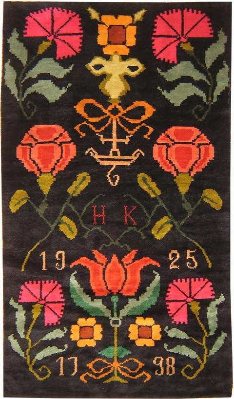 The corner flowers look like Dianthus, and the bottom middle looks like Tulips. What about the middle side flowers?   Antique Scandinavian Rug: Antique Finnish, Scandinavian Folk, Folk Art, Art Design, Rugs, Finnish Rya, Antiques