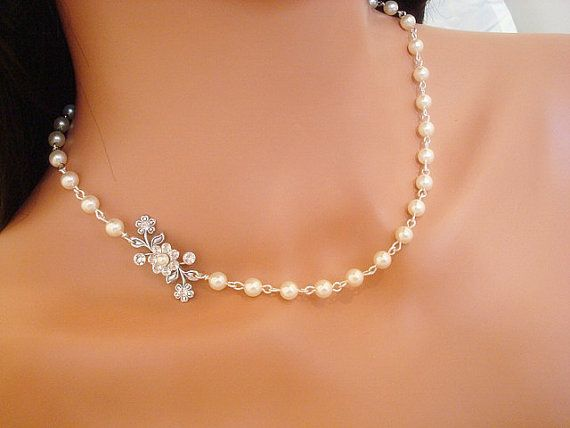 Bridal jewelry bridal necklace wedding necklace by treasures570. This would be prefect with my dress.