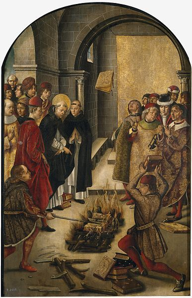 Pedro Berruguete: l 	St. Dominic de Guzman and the Albigensians. 1493-1499. Museo del Prado. This portrays the story of a dispution between Saint Dominic and the Cathars in which the books of both were thrown on a fire and St.Dominic's books were miraculously preserved from the flames.This was believed to symbilize the worngness of the Cathars teaches.