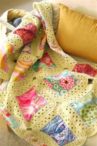 Kaffe fassett  fabric and crochet..  a beautiful combination!Crochet Blankets, Sewing, Crochet Ideas, Baby Clothing Quilt, Memories Quilt, Blankets Stitches, Crochet Quilt, Scrap Fabrics, Crafts