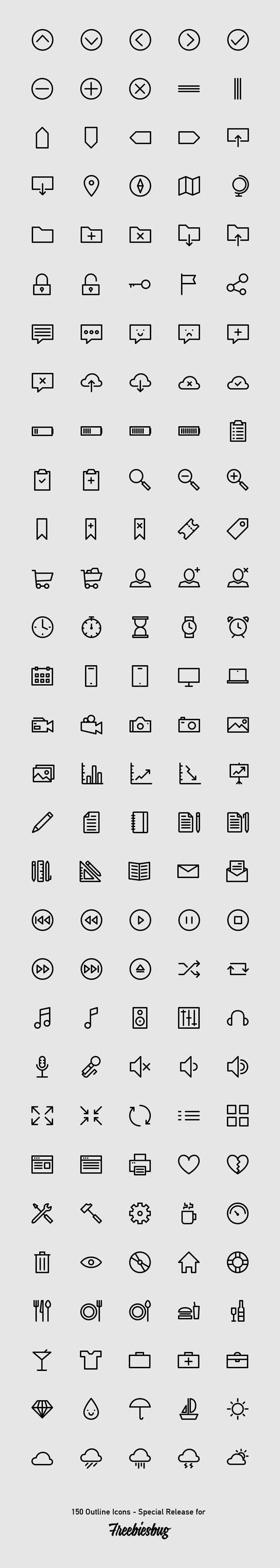 150 Outlined Icons | GraphicBurger