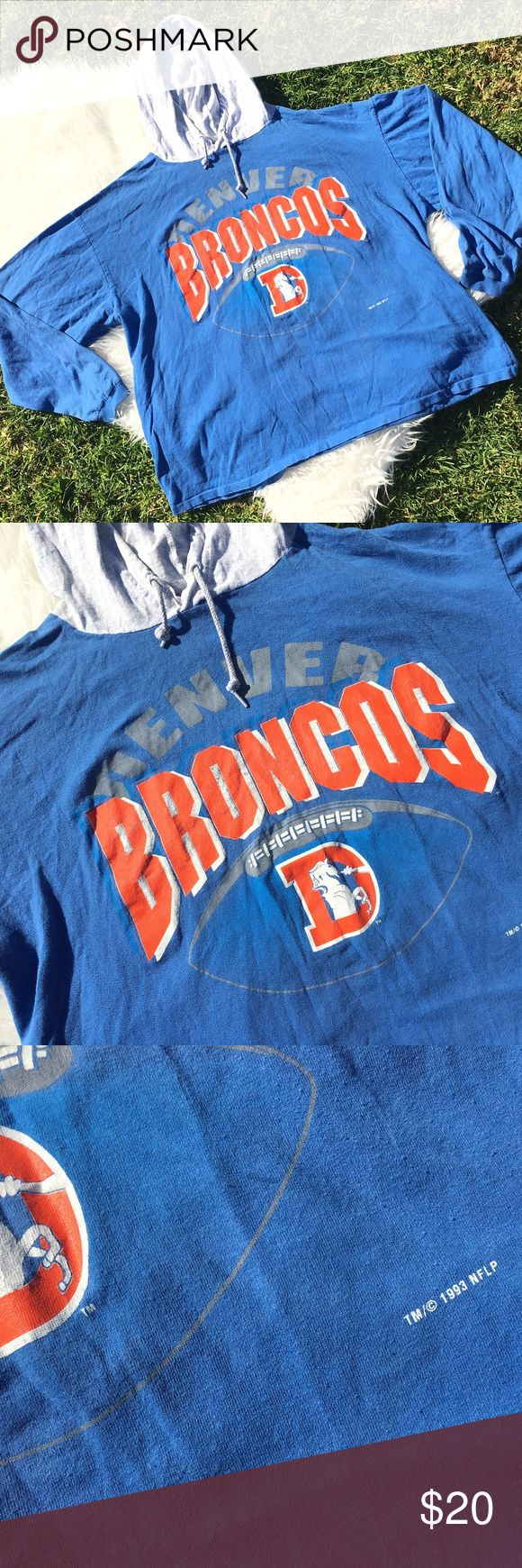 """Vintage Denver Broncos Shirt Hoodie XL 1993 Vintage Denver Broncos Blue T Shirt Hoodie Mens Size XL Made IN USA 1993 USA  Full Length:24.5"""" Pit to Pit:25"""" Sleeve Length:22"""" Artex Sweaters"""