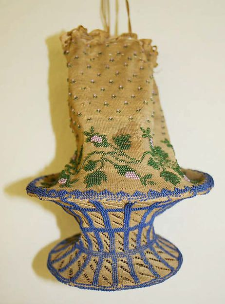 Extremely Unique Dutch Cotton and Glass Bead Bag With Interior Hoops for Easier Access, ca. 1800-1820.