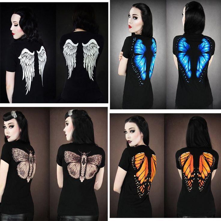 Hot Sale 2017 Summer Style Harajuku t shirt Women 3D Wing Butterfly Print Women Tops Sexy Slim Female Shirt Camisetas T-Shirts