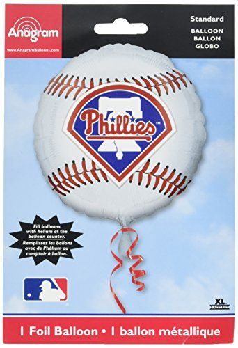 """Anagram International Philadelphia Phillies Package Party Balloons, 18"""", Multicolor  Great for parties and other special occasions  Fill with helium  Foil balloon - Excellent alternative for those with allergies to latex  Self-sealing  Easy instructions"""