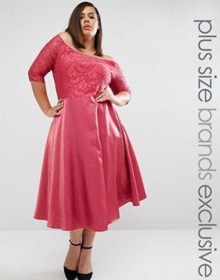 Truly You - Vestito longuette stile Bardot in pizzo con gonna a ruota