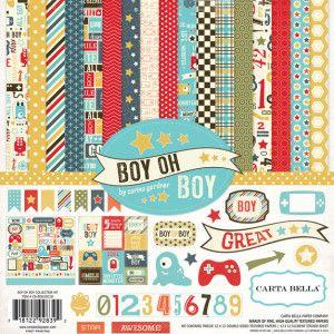 CB BOB30016 Boy Oh Boy Collection Kit  Scrapbook paper