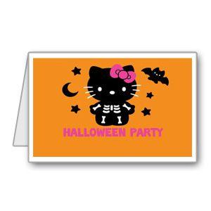 Biglietto di invito per Halloween con Hello Kitty versione teschio pronto da stampare