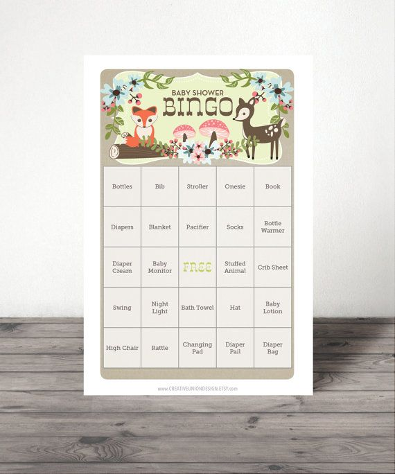 Woodland Baby Shower Bingo  - 50 Unique Game Sheets - Baby Shower Games - Twin Baby Shower - Gender Neutral - Woodland - Instant Download