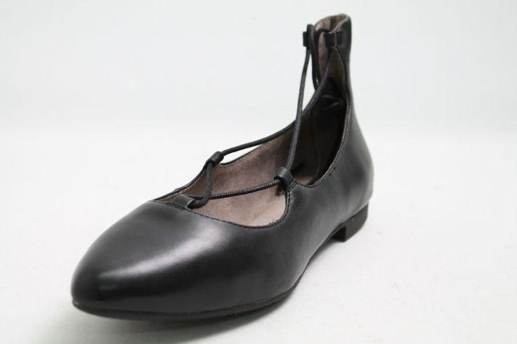 Tamaris Ballerinas schwarz Leder Fesselschn