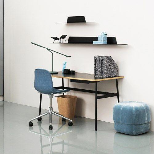 Journal skrivbord - Journal skrivbord - svart laminat, svarta stålben och låda