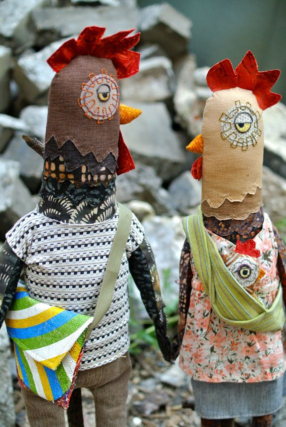 Hipster Chickens  Doll Kit by MyDesignFriend on Etsy, $65.00