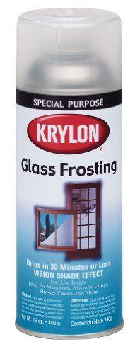 Krylon I00810 Glass Frosting Aerosol Spray Paint, 12-Ounce Krylon http://smile.amazon.com/dp/B001CEQ39U/ref=cm_sw_r_pi_dp_-r36tb1172Z3R
