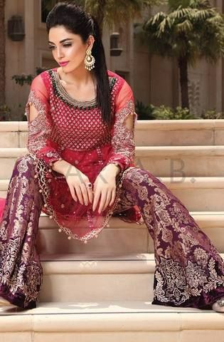 Maria B Chiffon Embroidered Suit - Replica Suits - diKHAWA Online Shopping in Pakistan