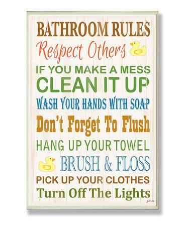 Look at this #zulilyfind! 'Bathroom Rules' Rubber Ducky Wall Sign #zulilyfinds