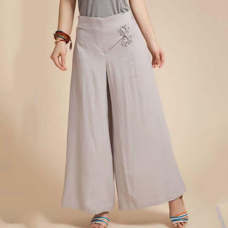 Chinese Knot Pants Gray Beige Thin Pants Wide Leg Pants Women Straight Trousers