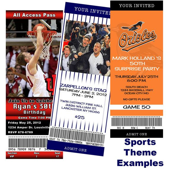 You can Print Custom Ticket birthday sports jack and jill save the date bachelor party invitation etc DIGITAL can order as well