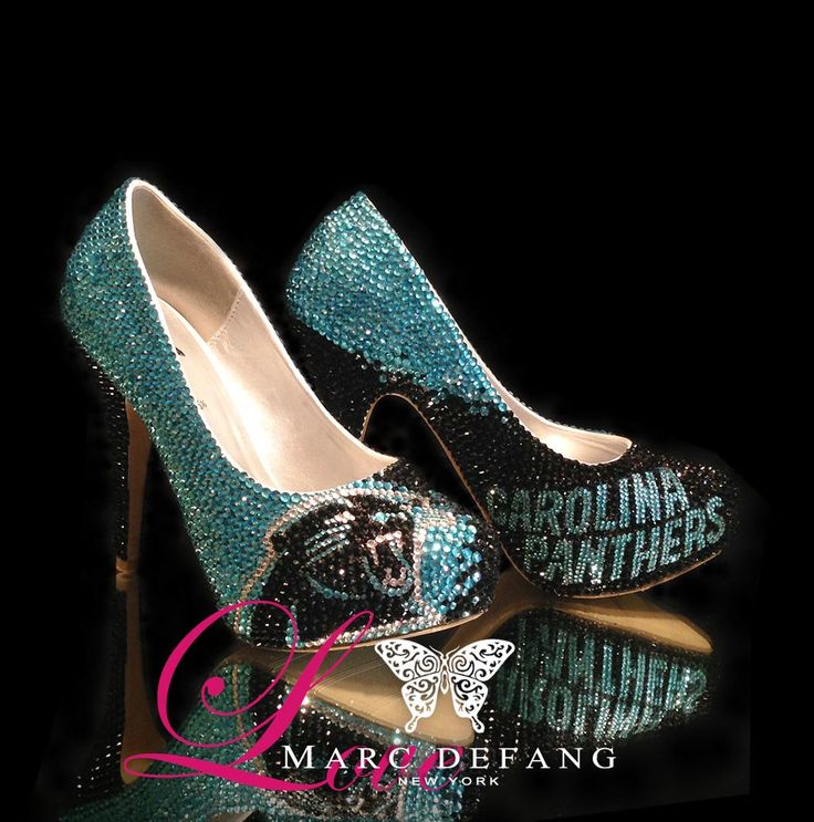 Carolina Panthers Crystal heels!  Holy mother of awesome.....I need these for Dana!!!