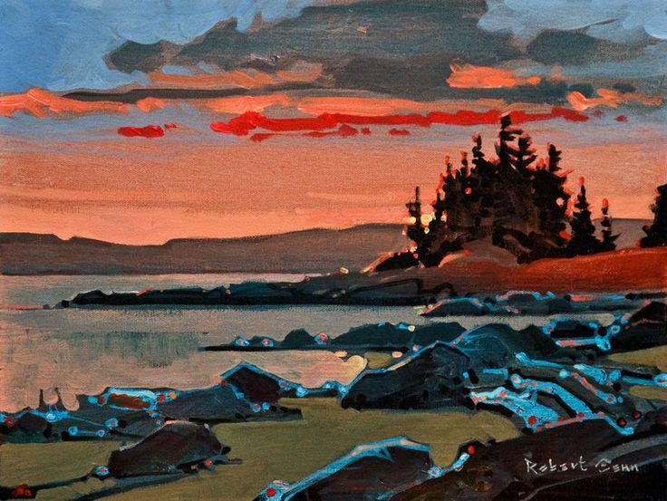 Sunset on Cortes, Hollyhock, by Robert Genn 12 x 16 - acrylic $3100 Unframed