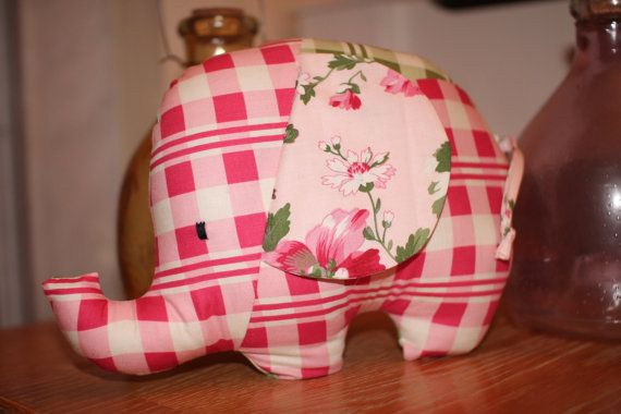 Handmade elephant soft toy with vibrant by DollyDottyDesigns