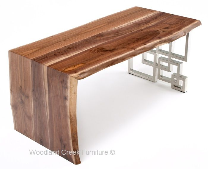 This live edge desk starts with beautiful hardwood from northern Michigan which is then paired with a unique metal base. We offer natural black walnut, ash, maple, and burl woods. We offer a wide range of metal base designs. Let us know the size live edge desk will best fit your office, and our talented
