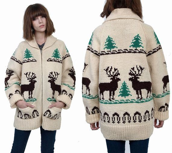 70's DEER Cowichan Wool Knit Zip Up Cardigan by MamaStoneVintage, $98.00