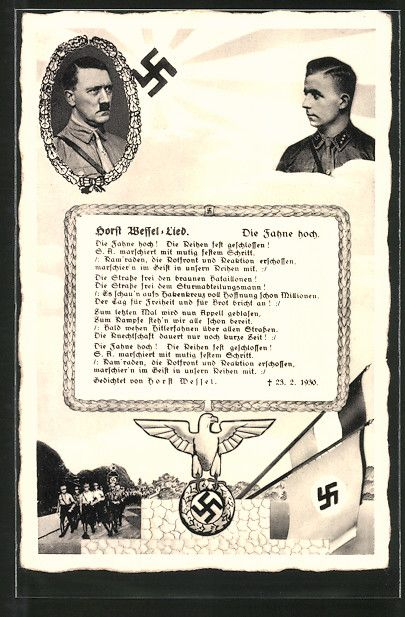 old postcard: AK Führer Adolf Hitler und SA-Sturmführer Horst Wessel in Uniform, Horst Wessel-Lied, SA-Männer, Hakenkreuzfahne