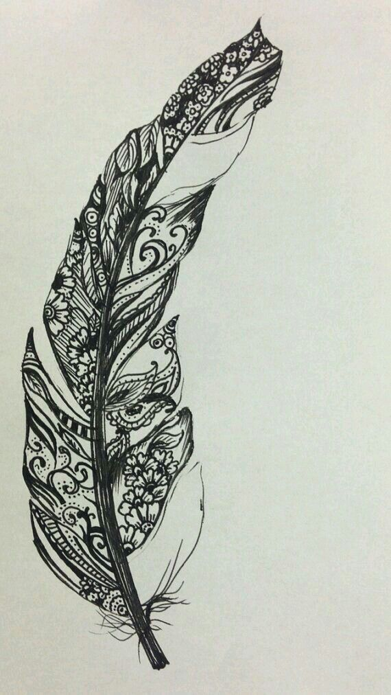 Feather drawing with florals and tangles inside