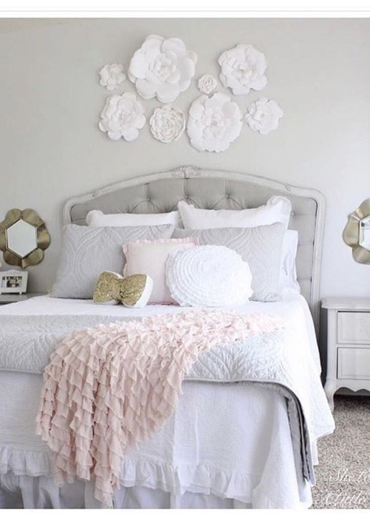 Tween girl bedroom makeover Blush grey Gold bright white bedroom Paper flowers Ruffle throw blanket tufted headboard
