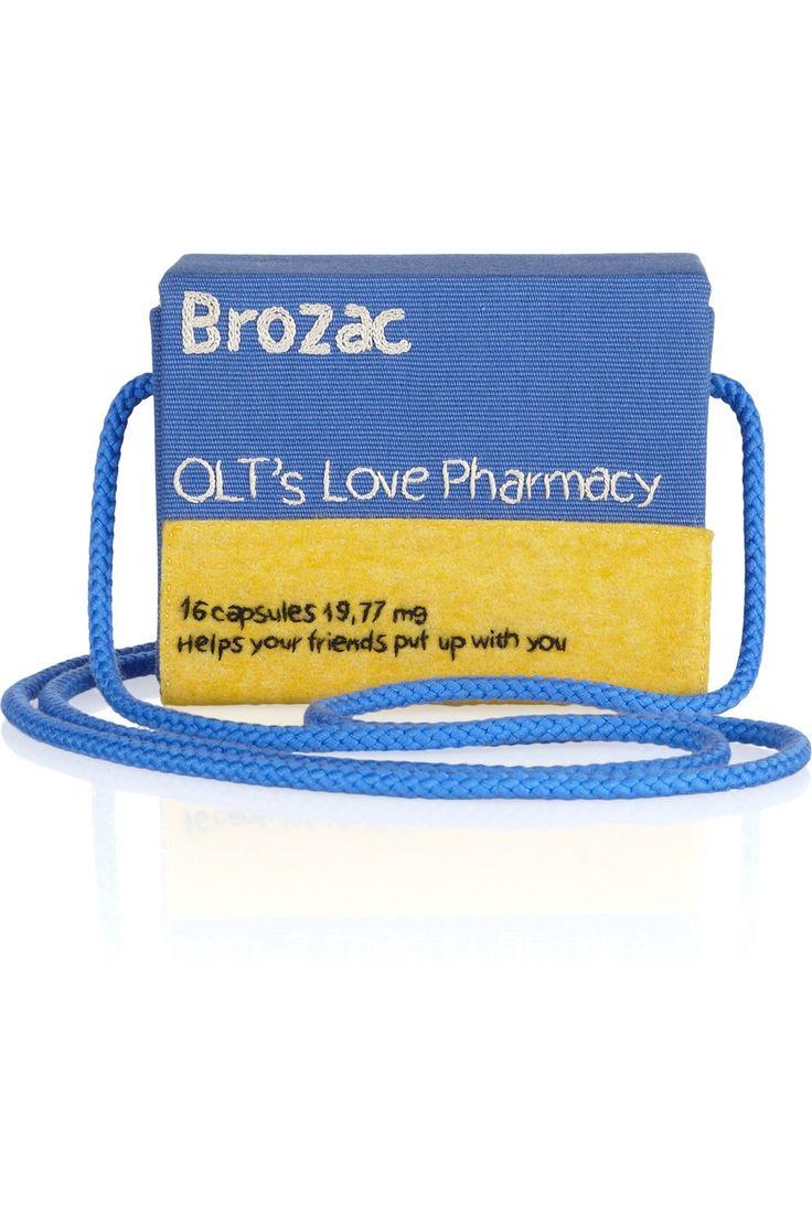 Olympia Le-Tan|Pill Box Brozac embroidered twill shoulder bag|NET-A-PORTER.COM