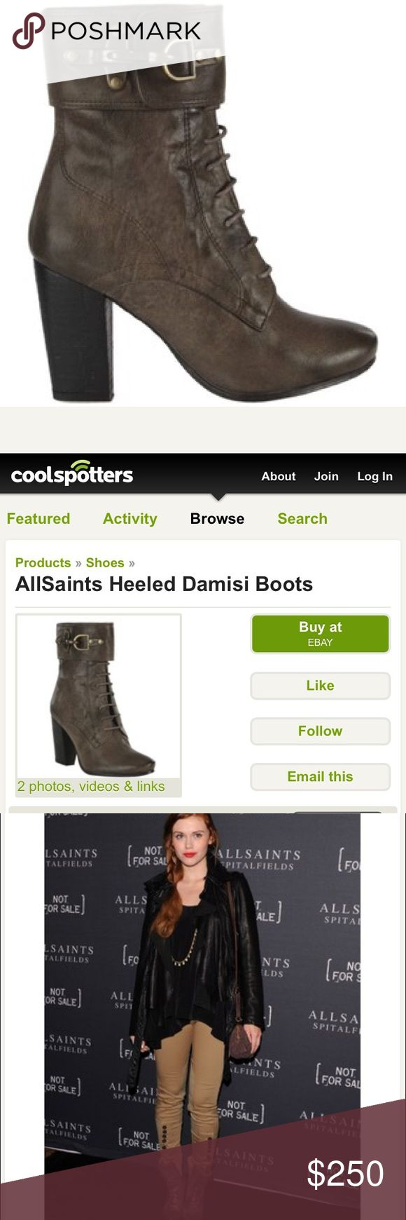 ALLSAINTS brown heeled Damisi boots / Size 36 (6) Pre-owned but extremely well taken care of brown lace & zip up All Saints heeled boots. Really great condition. Only sign of wear is on the front heels but I'm sure they could be fixed with leather cleaner. All Saints Shoes Combat & Moto Boots
