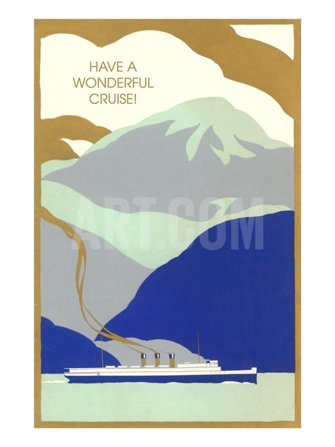 Art Deco Ocean Liner, Have a Wonderful Cruise Art Print at Art.co.uk