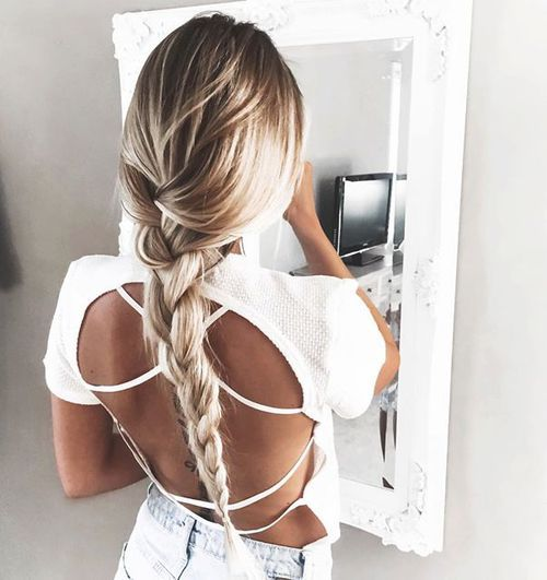 Long Dark Brown & Light Blonde Ombré Hair with Braid/Plat Hairstyle