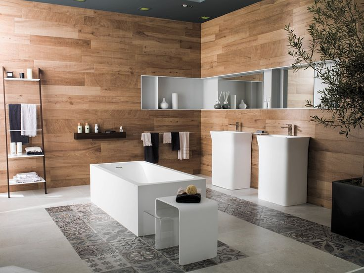 Mix and Match - 'Ascot Teca' from the PAR-KER range of timber porcelain with 'Antique Silver' hydraulic cement-look tiles by Porcelanosa. Available exclusively from Earp Bros.