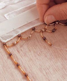 you will need: silk/viscose scarf masking tape pencil ruler cord thread beading needle 20g 4mm gold pearls 28g 4mm dark brown pearls 28gr 4...