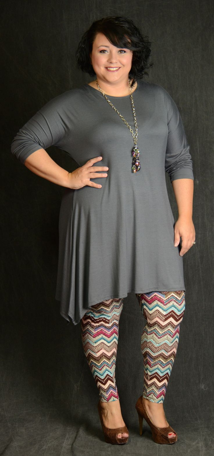Chevron Aztec Geometric Print One Size PLUS Looks great with long tunics & boots!! 65% Polyester 35% Cotton Shown with Charcoal Loose Fit Dress but many colors will work!