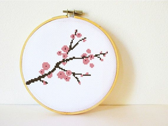 Counted Cross stitch Pattern PDF. Instant download. Cherry Blossom. Includes easy beginner instructions. via Etsy