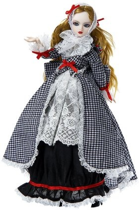 J-Doll Mariya Luiza  She wears an outfit that is reminiscent of a Bulgarian costume. It has black and white check with black trimmed with red, and white lace. Included inside the box is a doll stand for display.