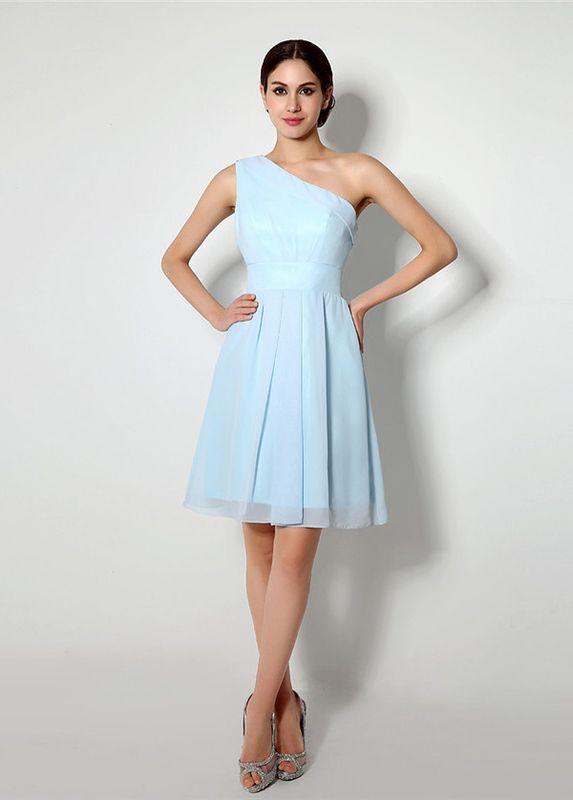 Simple Chiffon One-shoulder A-Line Knee Length Bridesmaid Dresses