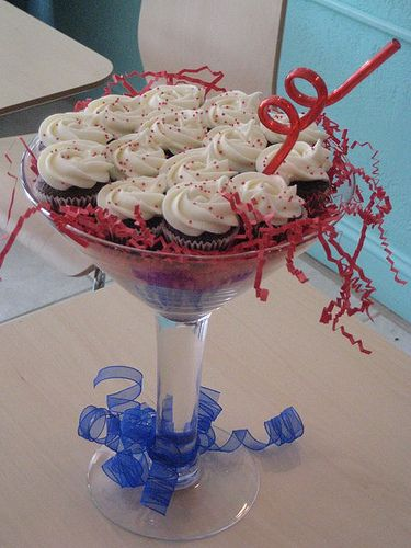 Cupcakes in a giant Martini glass... Neat presentation