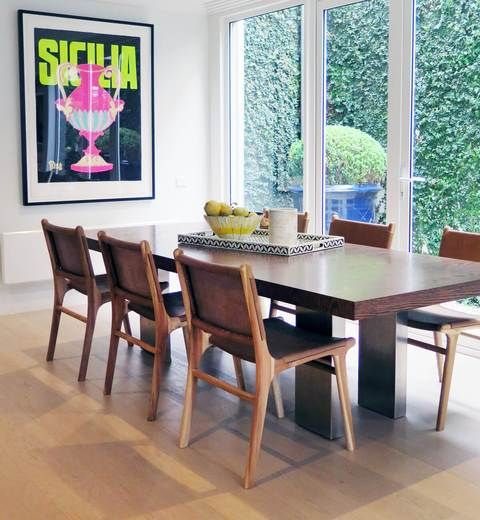 Flat Leather Dining Chair - Teak & Tan