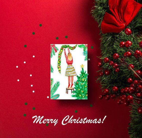 Xmas Card Christmas Digital Greeting Card With Girl Decorating