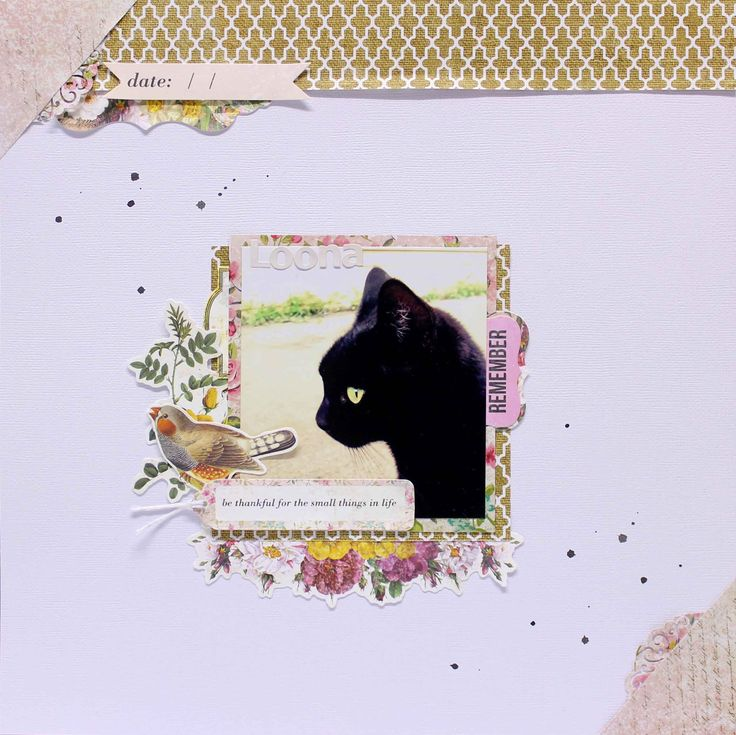 """""""Loona"""" By Anita Bownds Kaisercraft products: Kaisercolour Black KC031 – Alpha sticker sheet ivory AS253 – Grateful P1557 – Captivating P1560 – collectables CT800"""