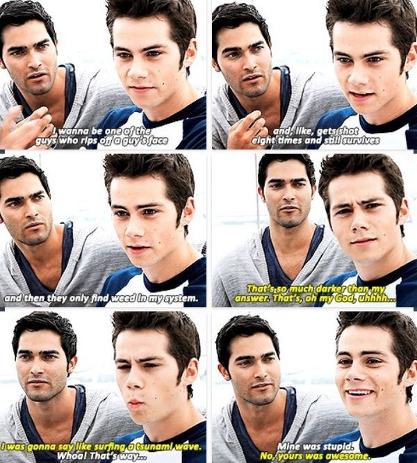 """Dylan O'Brien and Tyler Hoechlin """"What would you like to happen during an apocalypse?"""" - these two dorks are perfect for each other #sterek Teen Wolf"""