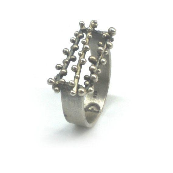 Sterling silver granulation ring by applenamedD on Etsy, €55.00