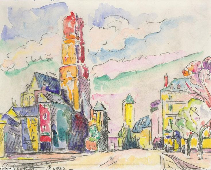 Rodez, Chalk by Paul Signac (1863-1935, France)