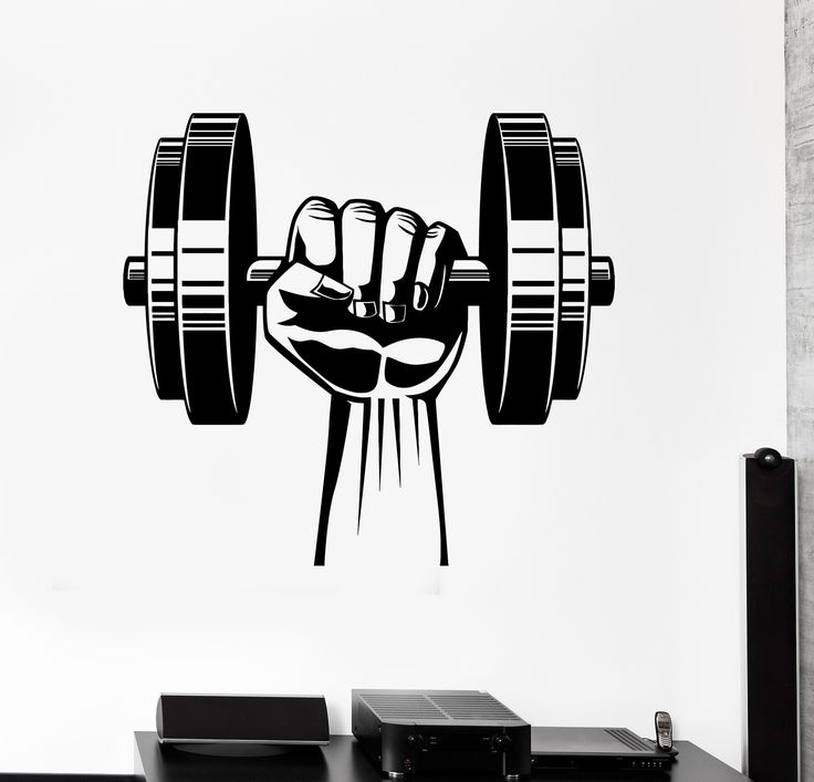 Vinyl Wall Decal Hand Dumbbell Bodybuilding Fitness Sport Gym Stickers (ig4442)