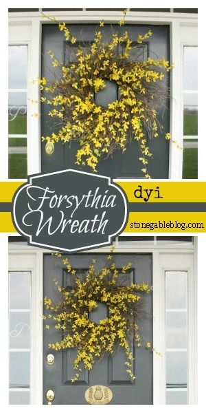 EASY TO MAKE FORSYTHIA WREATH DIY step by step instructions! Looks fabulous!