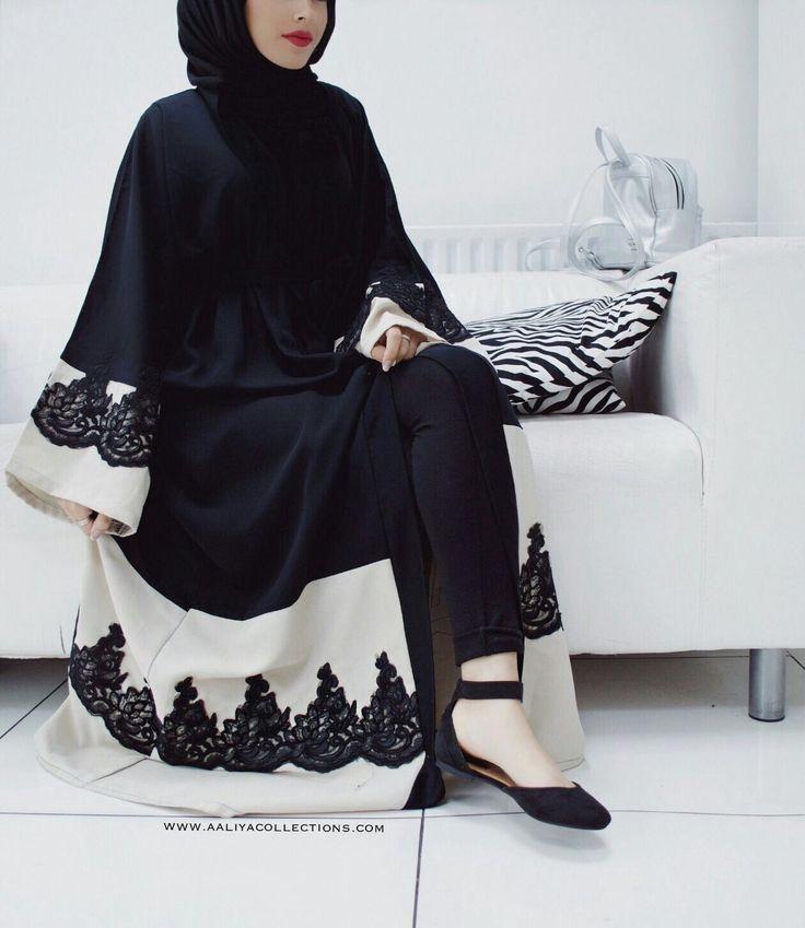 Image of Naima Noir Lace Abaya Pre-order